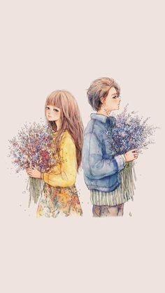 Gilpu by nhienan on DeviantArt Anime Love Couple, Cute Anime Couples, Couple Art, Art And Illustration, Anime Kunst, Anime Art, Cover Wattpad, Wattpad Background, Anime Korea