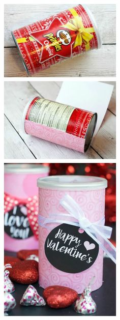 Cute Valentine's Gift Idea. This is a fun and simple Valentine's Day gift that is perfect for anyone and everyone! They are so fun to make, and so simple...you'll be able to make one for all your loved ones! #fungifts #funvalentinegifts #valentinesdaygift #valentinesdaygiftidea Valentines Gift Box, Valentine Treats, Saint Valentine, Valentine Day Love, Valentines Day Decorations, Valentine Day Crafts, Pringles Can, Valentine's Day Diy, Diy Birthday