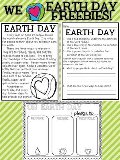 Earth Day FREEBIES-Includes a comprehension selection with questions and an Earth Day Poster/Pledge Earth Day Activities, Writing Activities, Science Activities, Holiday Activities, Therapy Activities, Earth Day Projects, Earth Day Crafts, Earth Day Posters, Spring School