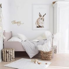 Bunny accent done right by @brookecastelstylist . Show us your kids room by tagging us!  #kidsroom #toddlerroom #bunny #wallart #projectjunior #nurserytrends