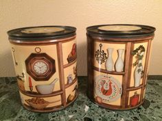 Mid Century Tins Set of Two by MidCenturyAmericana on Etsy