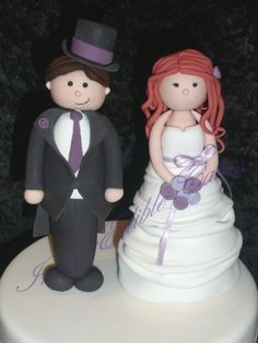 Hand made fondant Bride and Groom Wedding cake toppers