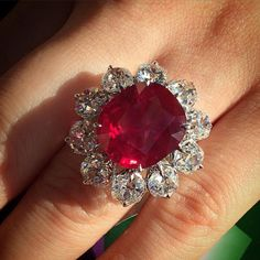 Burma ruby and diamonds.