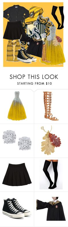 """Hufflepuff Pride"" by lady-evelena-of-the-woods-beyond on Polyvore featuring Vince Camuto, Effy Jewelry, Natures Jewelry, Diane Von Furstenberg, ASOS and Converse"