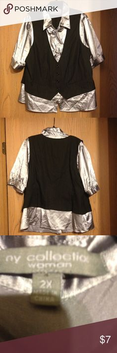 🏉🏉NY Collection Top🏉🏉 One piece Gray shirt with Black vest.  In good condition. NY Collection Tops