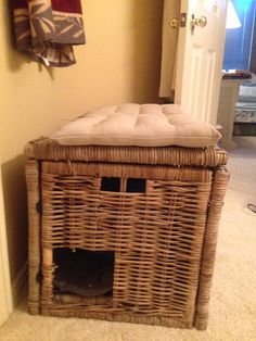 Hidden litter box in an Ikea wicker chest, with a bath mat in the bottom, and 2 chair cushions on top for the cat to nap. No more open litter box! Keeps it unseen and inaccessible to the dogs. Total cost $94.