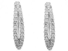 Huggie Earrings with Round Diamonds Set in 18k White Gold #10543