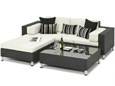 Siena Black Rattan Garden Daybed With Grey Cushions Sicilia Daybed, Alexander Francis Garden Furniture - Loosen up after a busy day on our Sicilia Daybed hand crafted from black rattan and inspired by the dark volcanic rock of Mount Etna. Pop open a bott Contemporary Garden Furniture, White Patio Furniture, Rattan Garden Furniture Sets, Balcony Furniture, Trendy Furniture, Best Outdoor Furniture, White Bedroom Furniture, Siena, Interiors