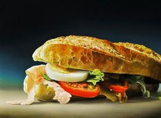 Photorealistic food painting by Tjalf Sparnaay: an hyperrealist sandwich!!!