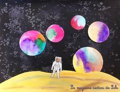 Fashion and Lifestyle Outer Space Crafts, Solar System Art, Classe D'art, 5th Grade Art, Ecole Art, Space And Astronomy, Art Lessons Elementary, Collaborative Art, Human Art