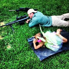 .50 cal spotting... quality Daddy - Daughter time. How awesome is this picture idea! I love it!! Lol!