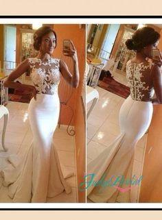 JOL206 sexy lace overlay top mermaid wedding dress