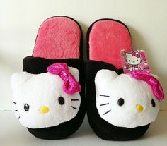 Hello Kitty Plush Slippers House Shoes Scuffs Black Sequins Ladies MEDIUM 7-8 #HelloKitty