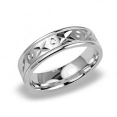 Mens Ring with X O Carved Pattern