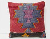 18x18 kilim pillow artisanship turkish kelim pillow red decorative kilim pillow blue boho pillow kilim pillow case turkish pillow sham 27047