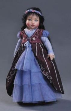 "HELEN KISH ""RILEY"" DOLL WEARING SNOW WHITE OUTFIT 7 1/2"" TALL NEW IN BOX w COA #Kish #DollswithClothingAccessories"