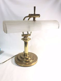 Vintage Art Deco Style Ribbed Glass Frosted Shade Bankers Brass Desk Lamp #ArtDeco