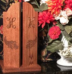 Solid Oak Paper Towel Holder With Monogram And Cornucopia Engraving