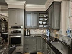 Gray Cabinets Dark Floor I Love That The Cabinets Go To The