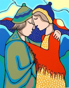 Awakening by Daphne Odjig - Contemporary Canadian Native, Inuit & Aboriginal Art - Bearclaw Gallery.look like throat singers Native American Artists, Canadian Artists, Daphne Odjig, Woodland Art, Inuit Art, Indigenous Art, Aboriginal Art, Native Art, Felt Art
