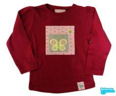 Garden_02 - Cotton's hot pink long sleeve with fabric applications with a butterfly /Camisola cor-de-rosa forte, para menina com borboleta by BebuzzyandFriends, €15.00