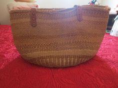 Vtg 60s 70s Jute Straw Stripe Woven Hippie Leather Hippie Tote Bag | eBay