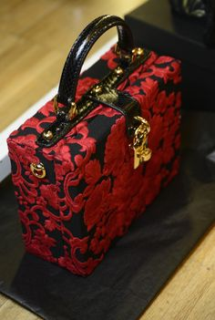 Dolce & Gabbana black & red brocade box bag.