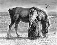 """Beauty And The Beast"" romantic pencil drawing of a woman and her horse."