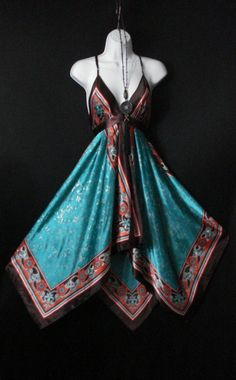 Bohemian Hippie Chic / Floral  Scarf Dress with Deep V Neckline // ETSY