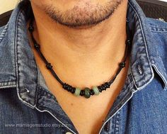 Black Leather Cord & Green Gemstone Mens Choker Necklace, Handcrafted Mens Jewelry #men'sjewelry