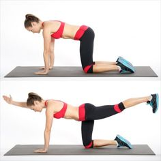 How to get toned abs in 2 weeks? Practice bird dog exercise for abs. Abs workout challenge for fitness lover. Flat Abs Workout, Ab Workouts, Fitness Workouts, Girl Workout, Dog Workout, Workout Circuit, Quick Workouts, Tummy Workout, Dumbbell Workout