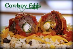 Cowboy Eggs -A ground beef patty stuffed with cream cheese and cheddar cheese stuffed jalapenos and then wrapped in bacon!  Must wipe drool off screen!