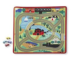 MelissaDoug Round The Town Road Rug Carpet Play Set w/ 4 Wooden Toy Car Kid New #MelissaDoug