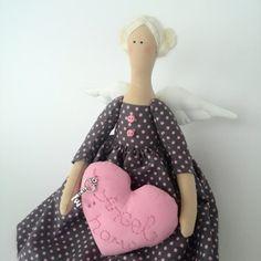 Tilda Angel Doll House Tilda doll in a pink polka dot dress Textile handmade doll Angel Doll