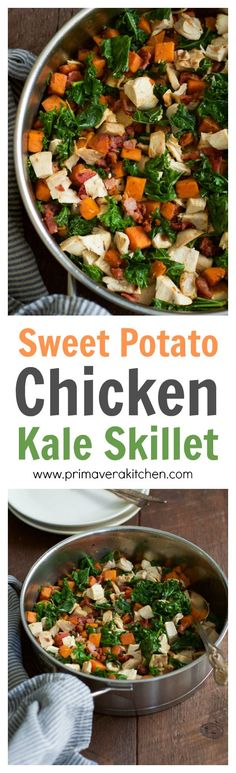 sweet-potato-chicken-kale-skillet - This Sweet Potato Chicken Kale Skillet recipe is a delicious one-pan meal that will be on your dinner table in less than 30 minutes. It is also gluten-free, paleo friendly and perfect for your busy weeknight dinner.