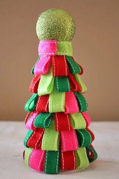 Colorful Christmas Holiday Table Top Ribbon Tree