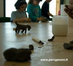 Laboratory of archaeology , in P.AR.C. museum. Children make their own sculptures, learning nuragic art.