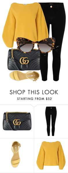 """Leo Print"" by smartbuyglasses ❤ liked on Polyvore featuring Gucci, River Island, L.K.Bennett, STELLA McCARTNEY and yellow"