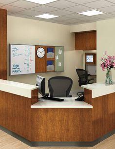 Nurses Station- Concert Modular Wall System, Raspberry Med. Tack Board, Chart Holder, Clock, and Marker Board