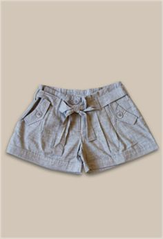 Brown-Black Shorts with Fabric Belt - $19