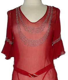 Vintage Jean Patou beaded dress in red by shopDECADENCEvintage, $450.00