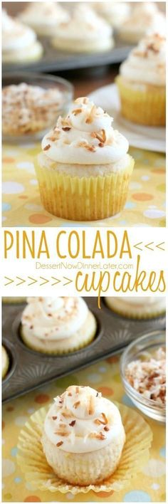 These Pina Colada Cupcakes have crushed pineapple in the cake, and coconut & rum extracts in the frosting, for a frozen drink inspired tropical dessert! | Posted By: DebbieNet.com