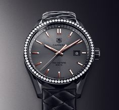 Cara Delevingne Special Edition Carrera.  Aged black calfskin strap on a black case with a white diamond bezel and rose gold indices. Beautiful contrast.