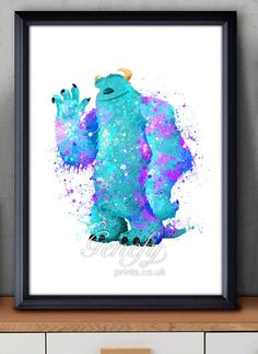 Disney Pixar Monsters Inc Sully Watercolor Poster by GenefyPrints