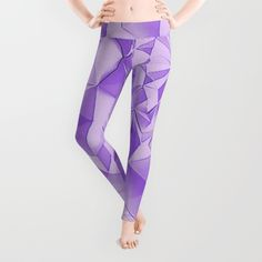 Cyber Monday Starts Now - 20% Off + Free Shipping on Everything! Purple fractals, geometric figures pattern, violet triangles, diamonds, rhombus, asymetric bricks Leggings #purple #leggings #violet #leggings #popular #trending #fashion #style #design
