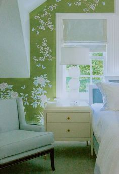 Pop of color with a classic wallpaper design