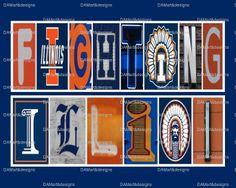 University of Illinois Fighting Illini Framed Alphabet Photo Art