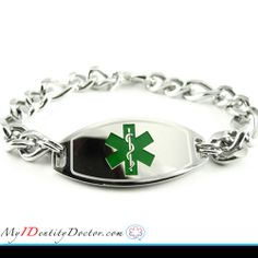 My-Identity-Doctor specializes in custom engraved medical ID bracelets. check out our latest Basic Steel Medical Bracelet Thick Figaro Chain Green Medical Alert which is having  Slightly Curved for Your Wrist with THICK Figaro Chain. For detail click to image