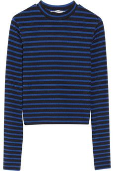 Cropped striped stretch-cotton top by T by Alexander Wang
