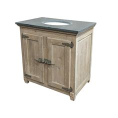 Reclaimed Pine Single Bath Vanity Wash Finish Natural Asian Blue Stone Top Under-Mounted Porcelain Sink Single Pre-Drilled Faucet Hole 36W x 23D x 36H